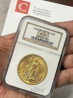 1908 $20 No Motto Saint Gaudens Gold Double Eagle NGC MS64 Old Holder PQ+