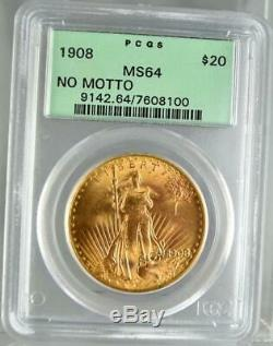 1908 $20 No Motto St Gaudens Double Eagle Gold Coin PCGS MS64 Old PCGS Holder