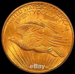 1908 $20 No Motto St. Gaudens Gold Coin Double Eagle PCGS MS65