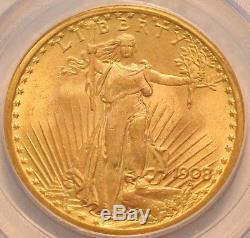 1908 $20 PCGS MS 65 Gold St Gaudens Double Eagle, GEM Uncirculated Saint Twenty