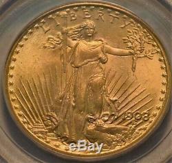 1908 $20 PCGS MS 66 Gold St. Gaudens Double Eagle, OGH GEM+ Uncirculated Saint