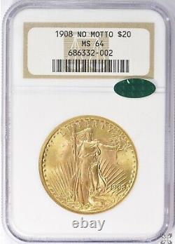 1908 $20 Saint Gaudens Gold Double Eagle Coin NGC MS64 CAC