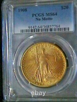 1908 $20 Saint-Gaudens Gold Double Eagle MS-64 PCGS (NO MOTTO)