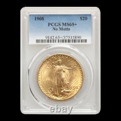 1908 $20 Saint-Gaudens Gold Double Eagle MS-65+ PCGS (No Motto) SKU#195683