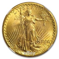 1908 $20 Saint-Gaudens Gold Double Eagle MS-67 NGC (No Motto) SKU #132554