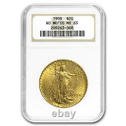 1908 $20 Saint-Gaudens Gold Double Eagle No Motto MS-63 NGC SKU#10251