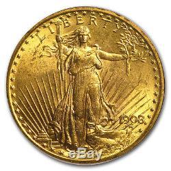 1908 $20 Saint-Gaudens Gold Double Eagle No Motto MS-63 PCGS SKU#4377