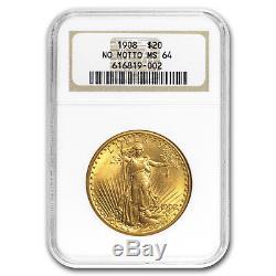 1908 $20 Saint-Gaudens Gold Double Eagle No Motto MS-64 NGC SKU#4378