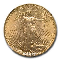 1908 $20 Saint-Gaudens Gold Double Eagle No Motto MS-65 NGC SKU#15543