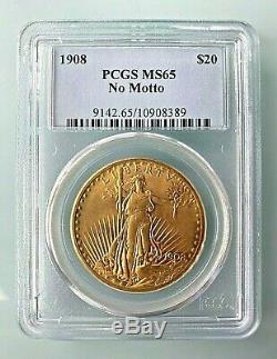 1908 $20 Saint-Gaudens Gold Double Eagle No Motto MS-65 PCGS