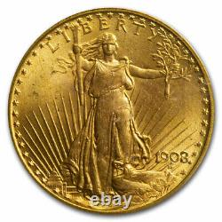 1908 $20 Saint-Gaudens Gold Double Eagle No Motto MS-66 PCGS CAC SKU#220219