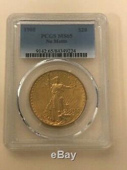 1908 $20 Saint Gaudens Gold Double Eagle No Motto MS65