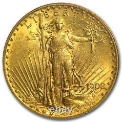 1908 $20 Saint-Gaudens Gold Double Eagle withMotto MS-62 PCGS SKU#87922