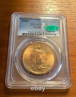 1908 $20 Saint Gaudens No Motto Gold Double Eagle Pcgs Ms 64 Cac
