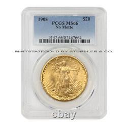 1908 $20 Saint Gaudens PCGS MS66 NM No Motto Gem graded Gold Double Eagle coin