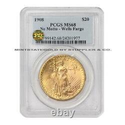 1908 $20 Saint Gaudens PCGS MS68 No Motto Wells Fargo Gold Double Eagle PQ coin