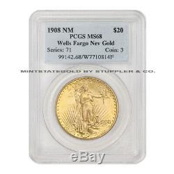 1908 $20 Saint Gaudens PCGS MS68 No Motto Wells Fargo Gold Double Eagle coin