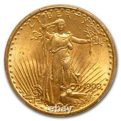 1908 $20 St. Gaudens Gold Double Eagle No Motto MS-64 PCGS CAC SKU#151718