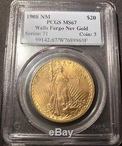 1908 $20 St. Gaudens PCGS MS67 Wells Fargo Double Eagle No Motto ORIGINAL