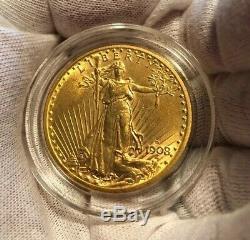 1908-D $20 GOLD Double Eagle St Gaudens BU CONDITION! RARE DATE