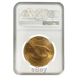 1908 D $20 Gold Saint Gaudens Double Eagle Motto NGC MS 63
