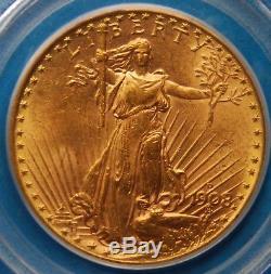 1908-D $20 Gold St. Gaudens, No Motto, Double Eagle, PCGS, MS-63
