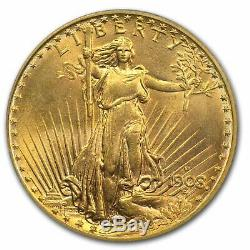 1908-D $20 Saint Gaudens Double Eagle coin MS65