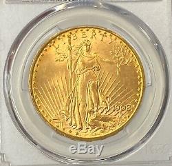 1908-D $20 Saint Gaudens Gold Double Eagle No Motto PCGS MS64+ (plus) Amazing