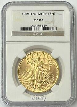 1908-D $20 Saint Gaudens Gold Double Eagle No Motto Pre 33 NGC MS63 Amazing PQ