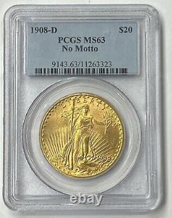 1908-D $20 Saint Gaudens Gold Double Eagle No Motto Pre 33 PCGS MS63 Amazing PQ