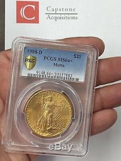 1908-D $20 Saint Gaudens Gold Double Eagle Pre-1933 With Motto PCGS MS64+