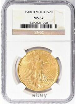 1908-D $20 Saint Gaudens Gold Double Eagle With Motto NGC MS62 Amazing Coin PQ++