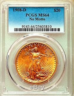 1908-D NO MOTTO $20 St. Gaudens MS64 Double Eagle GOLD MS 64 1908 D SAINT