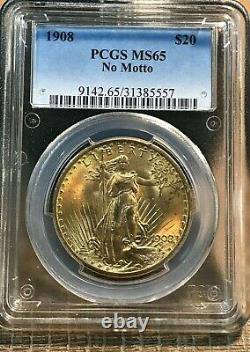 1908 Gold Us $20 St. Gaudens Double Eagle No Motto Coin Pcgs Ms 65 Look