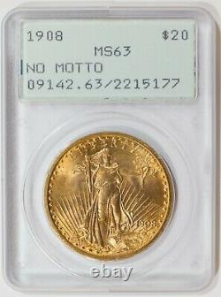 1908 Green holder No Motto PCGS MS63 $20 Gold Saint Gaudens Double Eagle