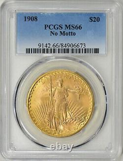 1908 NM $20 Philadelphia Gold GEM No Motto St Gaudens Double Eagle PCGS MS66