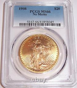 1908 NM $20 Philadelphia Gold GEM St Gaudens Double Eagle PCGS MS66