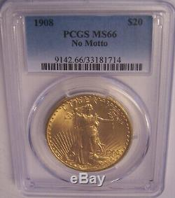 1908 NM $20 St Gaudens PCGS MS66 GEM Philadelphia Gold Double Eagle