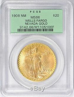 1908 NM $20 Wells Fargo Gold GEM St Gaudens Double Eagle PCGS MS66 OGH