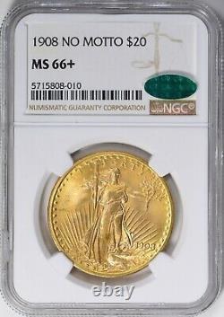 1908 NM MS +66++ $20 GOLD SAINT GAUDEN'S DOUBLE EAGLE NGC -CAC Best Value-LOOK