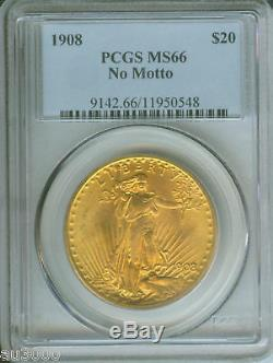 1908 NM NO MOTTO $20 Double Eagle ST. GAUDENS PCGS MS-66 SAINT MS66 STUNNING