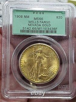 1908 NM NO MOTTO $20 Double Eagle ST. GAUDENS PCGS MS-66 SAINT MS66 Wells Fargo