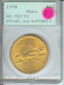 1908 NM No Motto $20 ST. GAUDENS DOUBLE EAGLE PCGS MS64 SAINT PQ RATTLER HOLDER