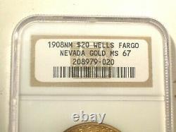 1908 NM No Motto WELLS FARGO $20 GOLD NGC MS67 St SAINT GAUDENS DOUBLE EAGLE