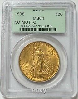 1908 Nm Gold $20 St. Gaudens Double Eagle Green Label Pcgs Ms 64