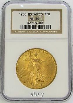 1908 Nm Gold USA $20 Saint Gaudens Double Eagle No Motto Coin Ngc Mint State 64