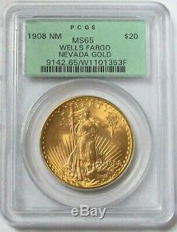 1908 Nm Gold Wells Fargo $20 St. Gaudens Double Eagle Pcgs Ms 65 Green Label