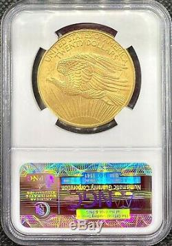 1908 No Motto $20 American Gold Double Eagle Saint Gaudens MS64 NGC CAC Coin