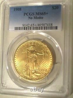1908 No Motto $20 GOLD PCGS MS65+ PLUS SAINT GAUDENS DOUBLE EAGLE FROSTY