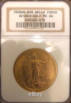 1908 No Motto $20 Gold Saint Gaudens Wells Fargo Double Eagle NGC MS66